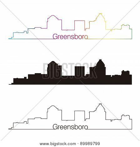 Greensboro Skyline Linear Style With Rainbow