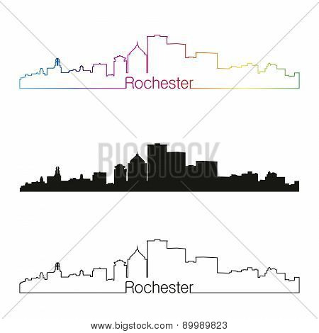 Rochester Skyline Linear Style With Rainbow