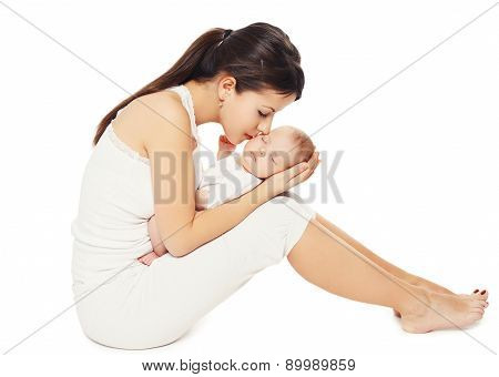 Happiness Of Mother - Sleeping Sweet Baby Lying On Hands Mom