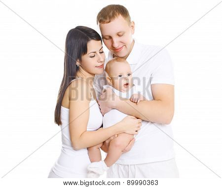 Happy Young Family, Portrait Of Parents With Cute Baby