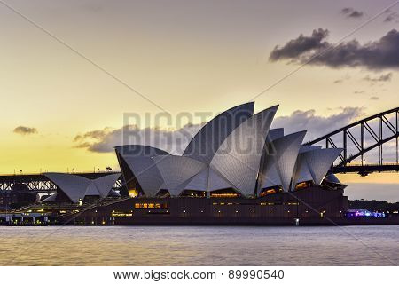 Sydney Australia - February 6, 2015 : View Of Sunset At Sydney Opera House On February 6 In Sydney
