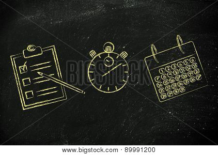 Stopwatch, Calendar And To Do List To Schedule And Organise Your Time