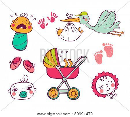 Set of hand-drawn icons baby toys and accessories.