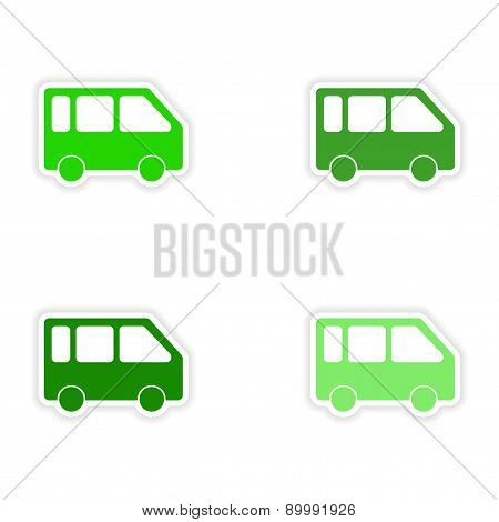 assembly realistic sticker design on paper minivans