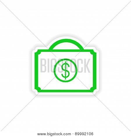 icon sticker realistic design on paper case money