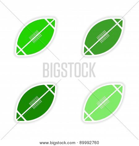 assembly realistic sticker design on paper rugby