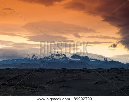 Vatnajokull Glacier evening scenery