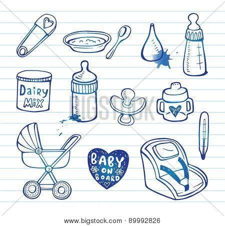 Set of hand-drawn icons baby  food and accessories.