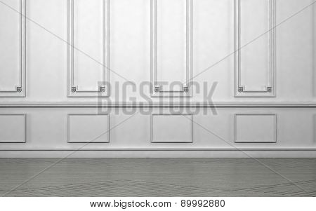 Empty room interior with classic wainscoting of ornamental white wooden wall paneling in an architectural background. 3d Rendering.