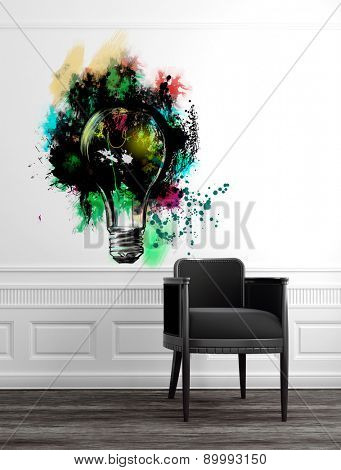 Modern Grey Chair in Upscale Luxury Home with Abstract Artwork of Light Bulb on White Wall with Panelling and Wood Floor. 3d Rendering.