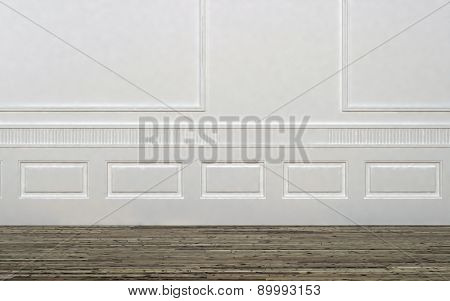 Home Interior of Empty Room with White Wall Decorated with Panelling and Light Colored Hard Wood Floor. 3d Rendering.