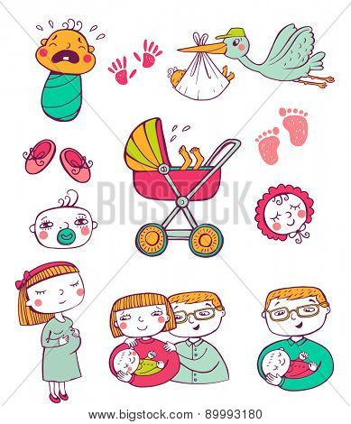Set of hand-drawn icons happy parents, stork and newborn accessories.