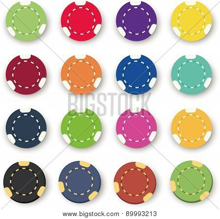 sixteen colorful poker chips on a white background