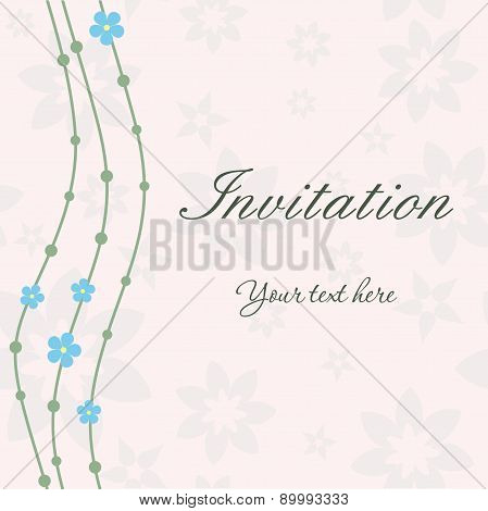 Invitation card with waves and flowers on beige floral background