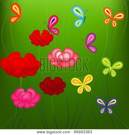 Bright spring pattern with flowers and butterflies