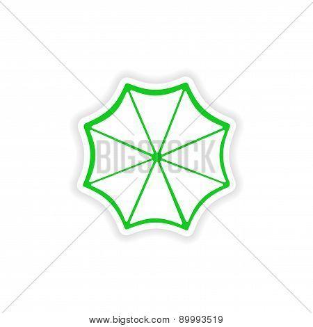 icon sticker realistic design on paper sun umbrella