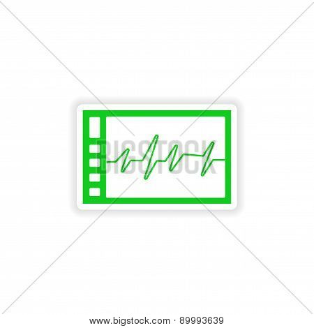 icon sticker realistic design on paper ECG