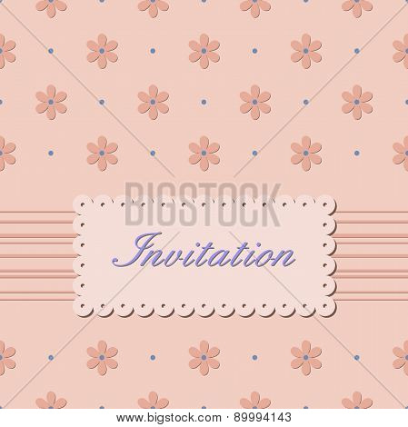 Invitation card with flowers on beige background