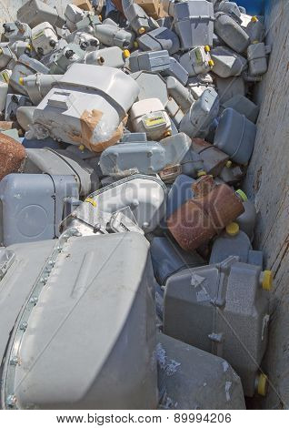 Abandoned Gas Counters In Waste Landfill