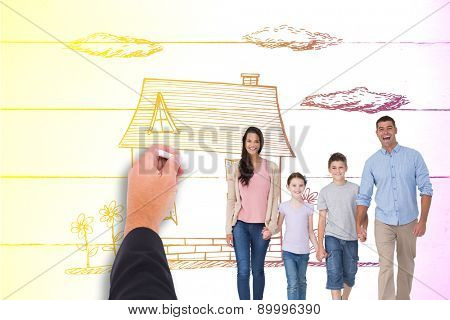 Portrait of happy family walking over white background against painted blue wooden planks