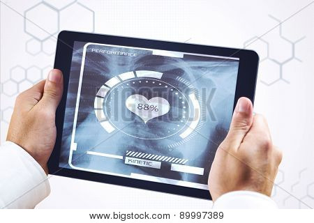 Man using tablet pc against chemical structure in grey and white