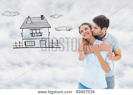 Cute couple hugging and smiling against cloudy sky