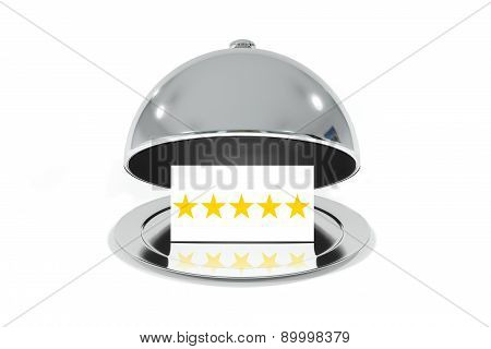 Opened Silver Cloche With White Sign Five Stars Rating