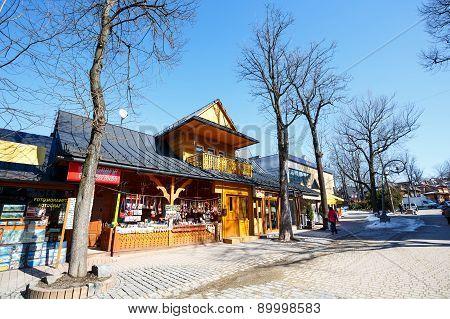 Wooden Building At Krupowki In Zakopane