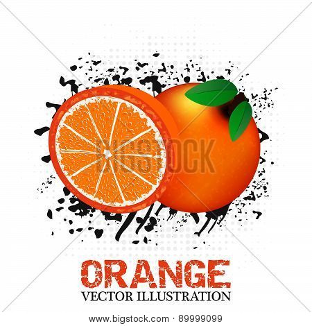 Orange fruit vector illustration with grunge and halftone effect