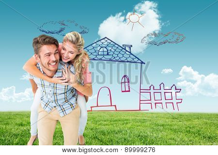 Handsome man giving piggy back to his girlfriend against blue sky over green field