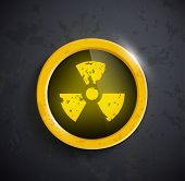 image of radioactive  - button with the sign of the radioactivity - JPG