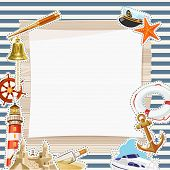 picture of trident  - Set of nautical or naval elements with anchor - JPG