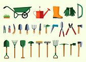 stock photo of horticulture  - Set of various gardening items - JPG