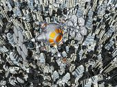 picture of spaceships  - Computer generated 3D illustration with a spaceship over a megacity - JPG