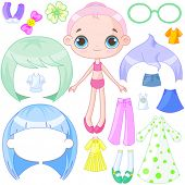 stock photo of up-skirt  - Illustration of very cute dress up doll - JPG