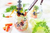 stock photo of chinese parsley  - Vegetable salad with chinese cabbage carrot sun - JPG