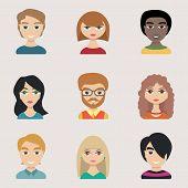 stock photo of emo  - People icons peolple avatars flat style - JPG