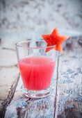 stock photo of watermelon  - Watermelon drink in glasses with slices of watermelon in star shape - JPG