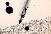 foto of rusty-spotted  - Antique pen on scratched paper and ink spot - JPG