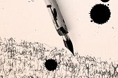 image of rusty-spotted  - Antique pen on scratched paper and ink spot - JPG