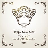 picture of monkeys  - Greeting card with monkey  - JPG