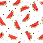 picture of watermelon slices  - Cute seamless background with watermelon slices - JPG
