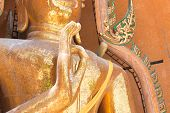 foto of compose  - Buddha statue standing composed in thai temple - JPG