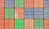 pic of container ship  - Colorful stack of container shipping at dockyard - JPG