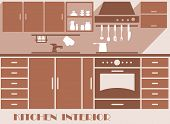foto of kitchen appliance  - Kitchen interior design graphic in shades of brown of a modern fitted kitchen with cabinets and appliances - JPG