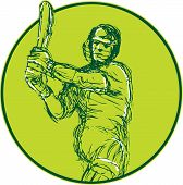 picture of bat  - Drawing illustration of a cricket player batsman with bat batting viewed from front set inside circle on isolated background - JPG