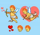 stock photo of cupid  - A vector illustration of flying Cupid set - JPG