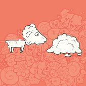 stock photo of kawaii  - Vector Illustration Cute Hand Drawn shorn lamb looking at its coat - JPG
