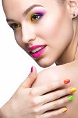 picture of nail  - Beautiful model girl with bright colored makeup and nail polish in the summer image - JPG