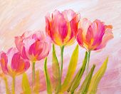 picture of canvas  - Vintage red tulips - JPG